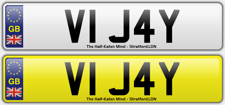 DESIGN YOUR OWN NUMBER PLATES: The Half-Eaten Mind's personalised registrations (3/6)