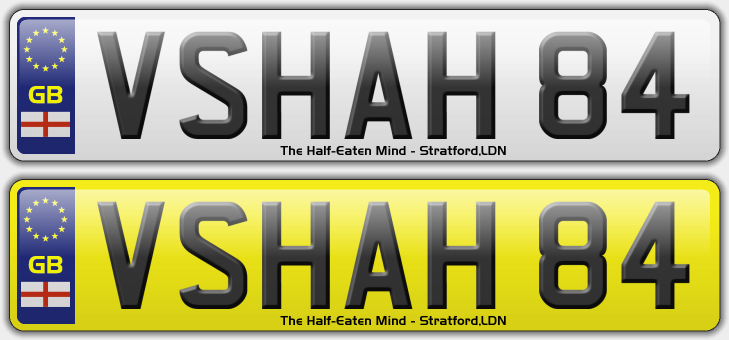 DESIGN YOUR OWN NUMBER PLATES: The Half-Eaten Mind's personalised registrations (4/6)