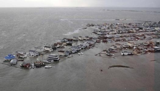An aerial shot of part of Atlantic City, NJ - completedly inundated by floodwater. (c) Reuters/The New York Post