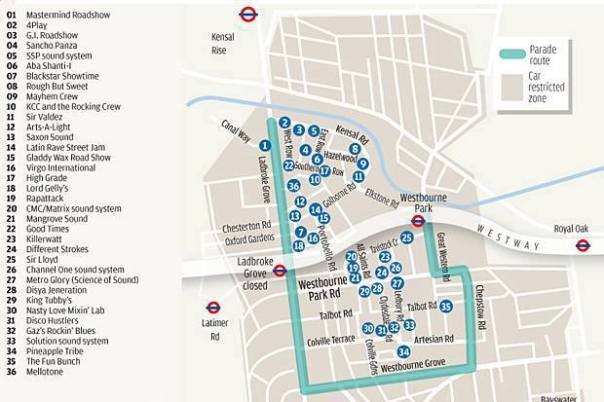 A map of the NHC route, including sound systems in the local area (c) Notting Hill Carnival Facebook Page